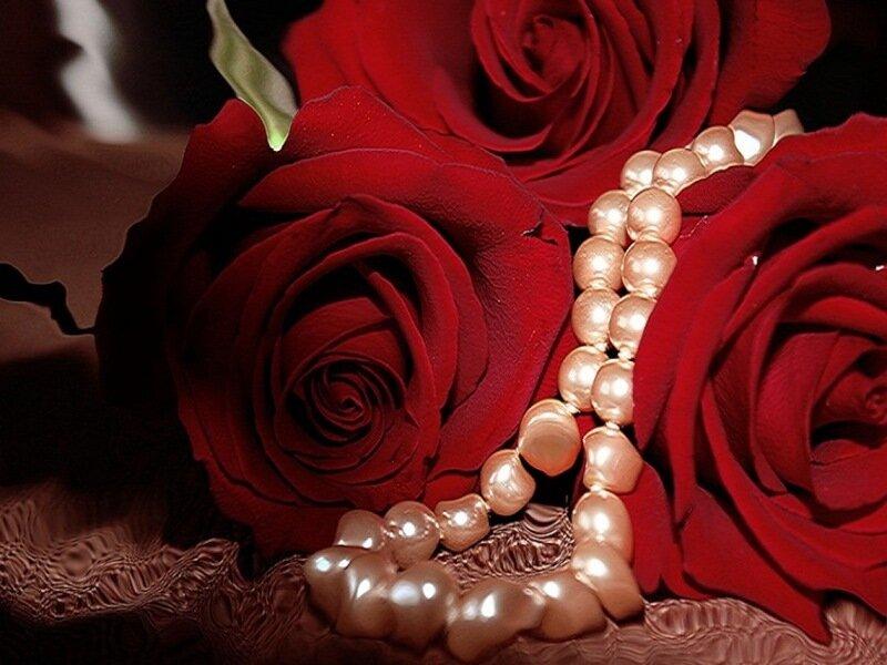 Открытки розы и жемчуг, новый