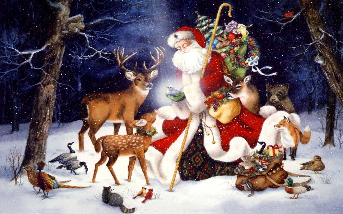 Рождественские открытки с оленями музыкальные