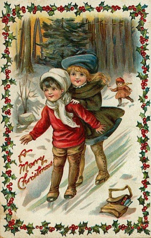 Рождество ретро открытки, днем рождения
