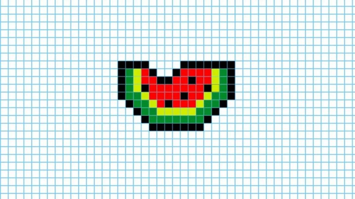 картинки сердце арбуз по клеточкам моей