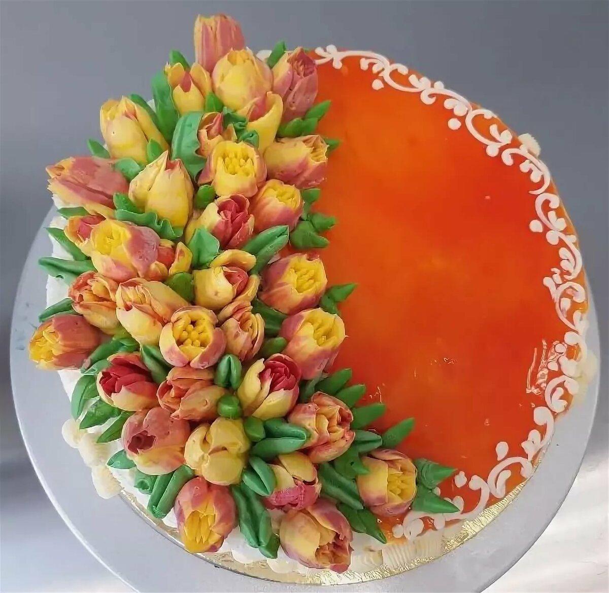 фото торт с тюльпанами из сливок сказала