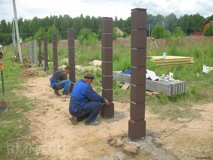 столбики для забора из бетона своими руками