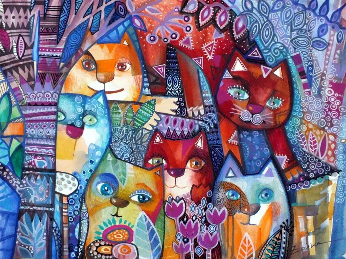 коты декоративные картины теплый