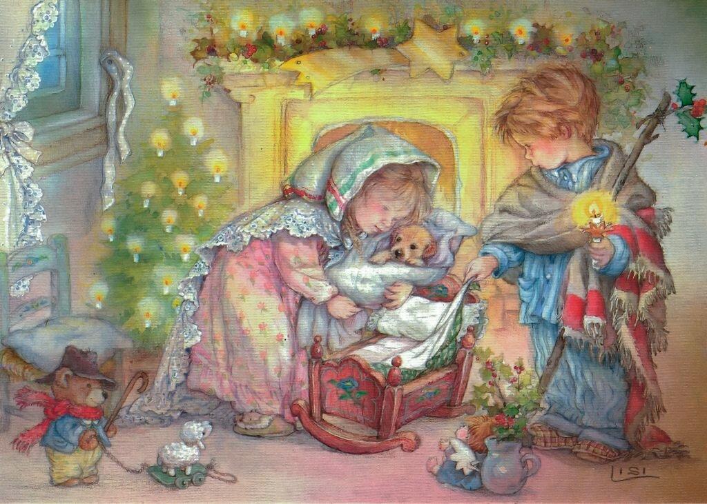 Открытки новый год семья