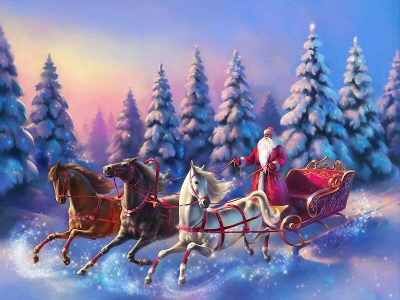 Новогодние открытки с лошадьми, технологии