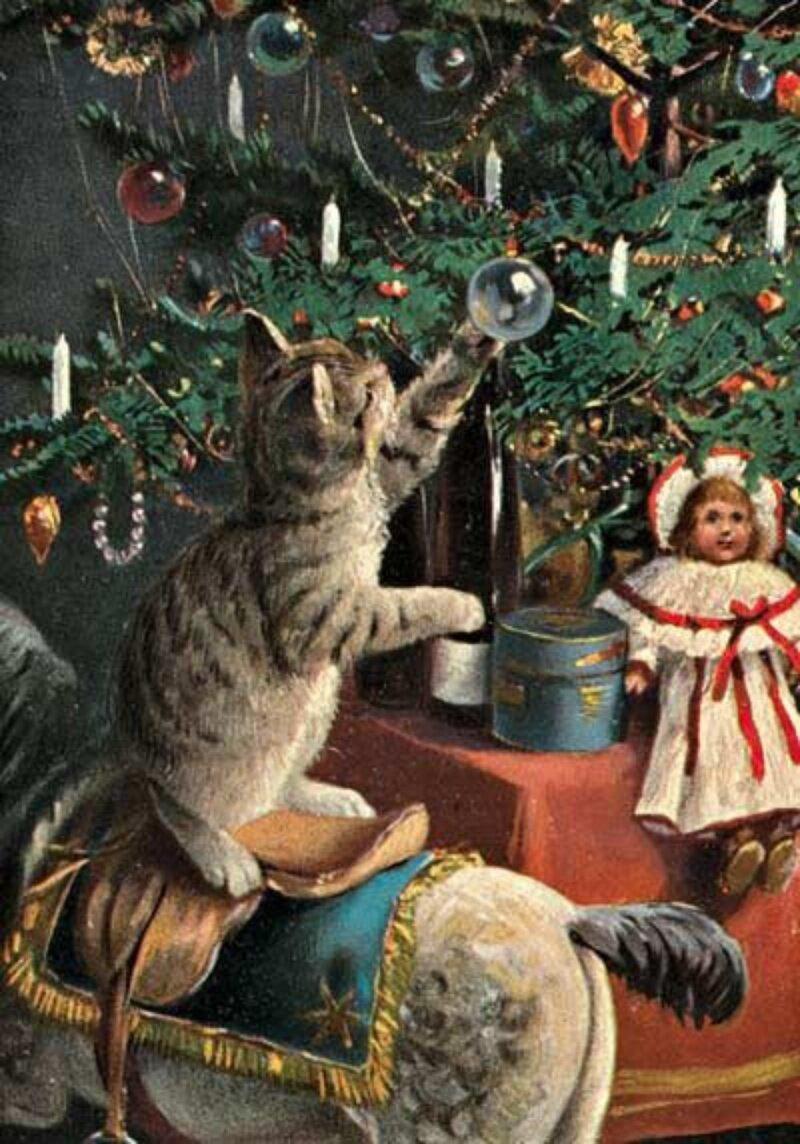 Старинная открытка елка