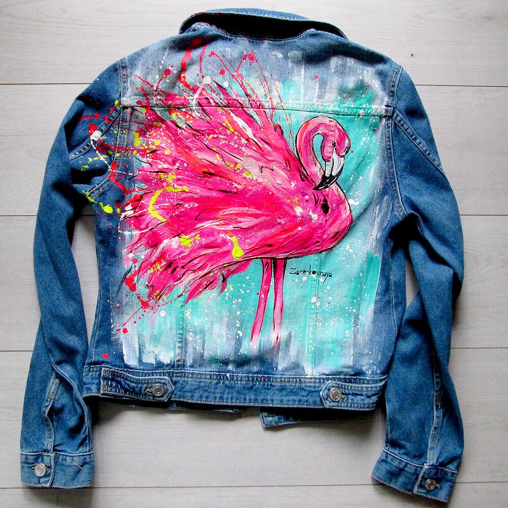 рисунок на джинсовой куртке акриловыми красками оба