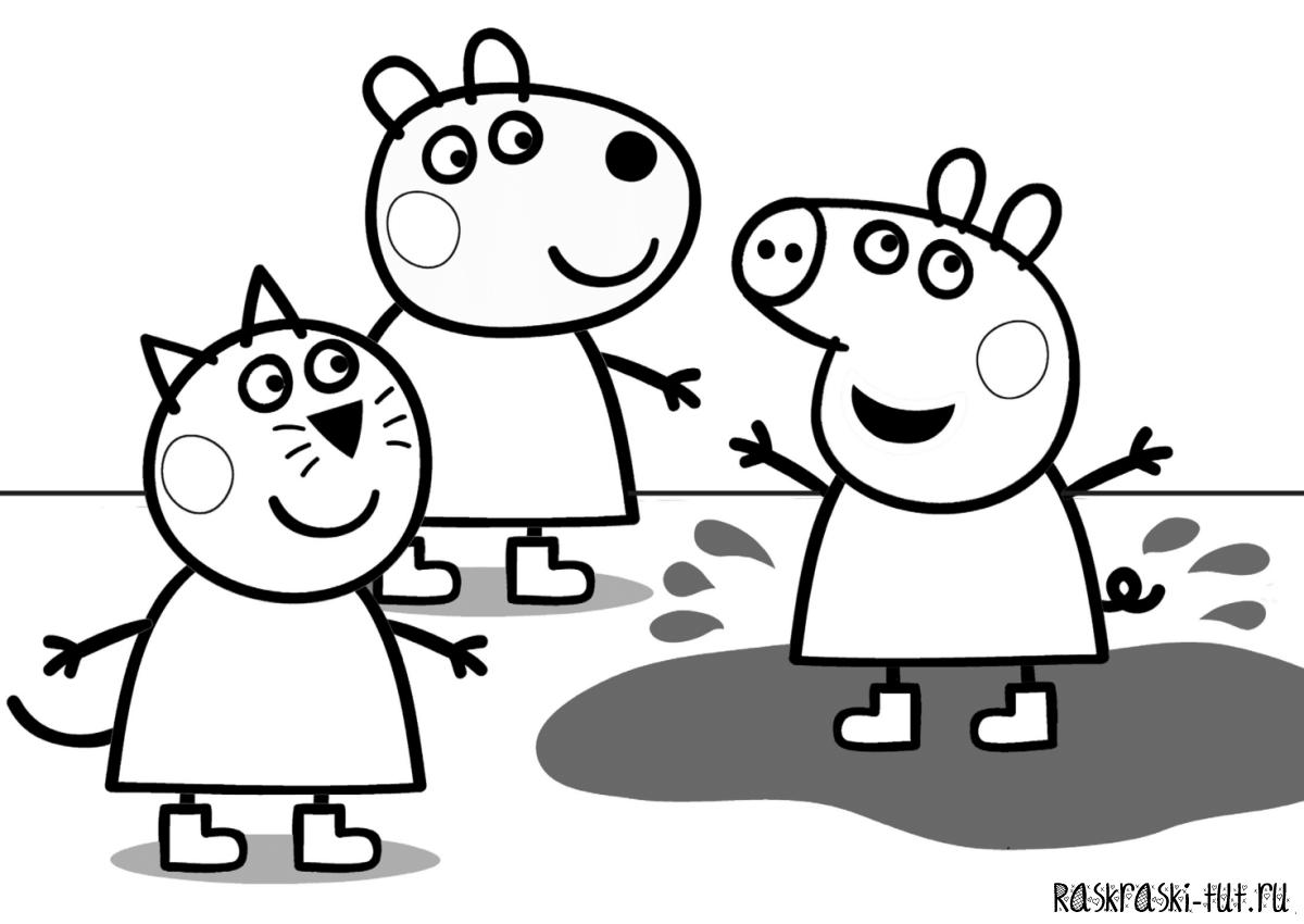 Раскраска Свинка Пеппа Распечатать Бесплатно