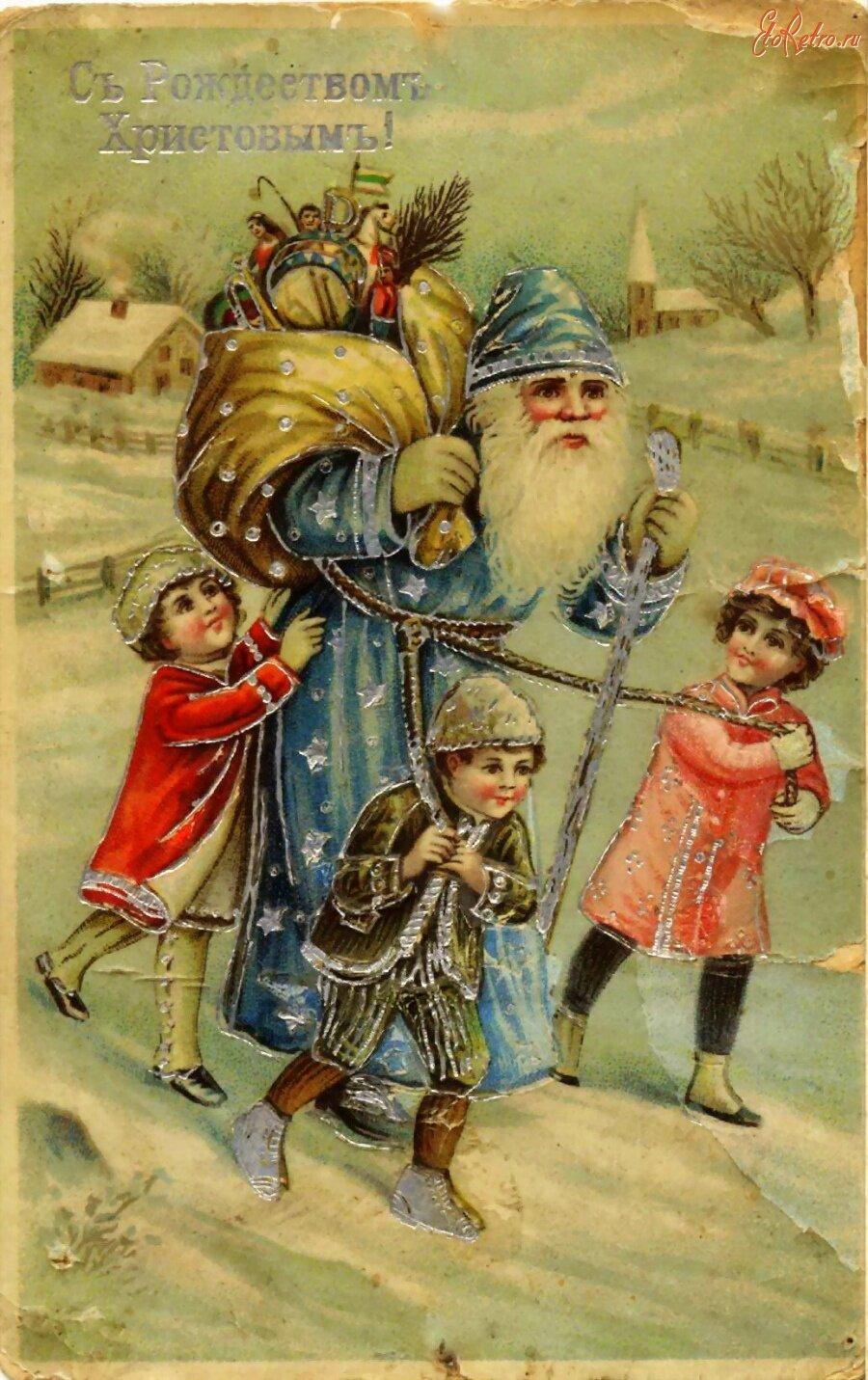 Рождество на старых открытках, комикс рисунок картинки