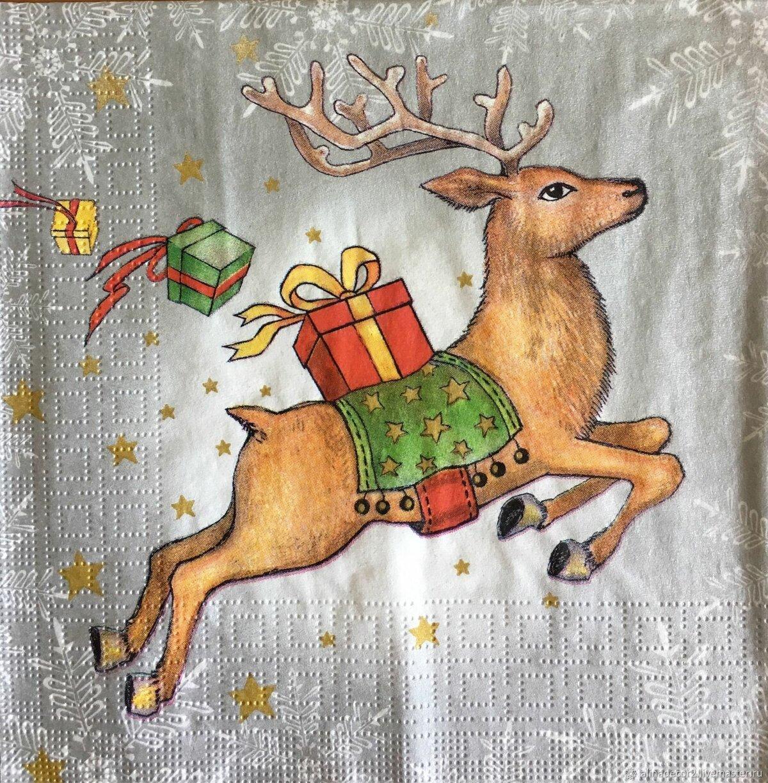 Новогодняя открытка с оленями нарисовать