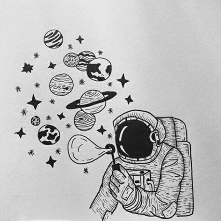 Рисунки маленькие космос