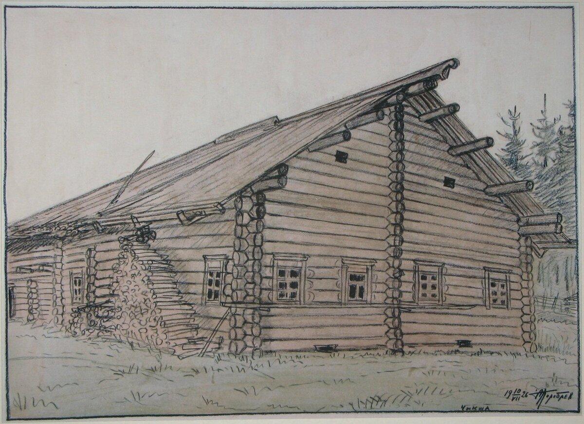 входов рисунок деревенский домик с узорами ним постоянно