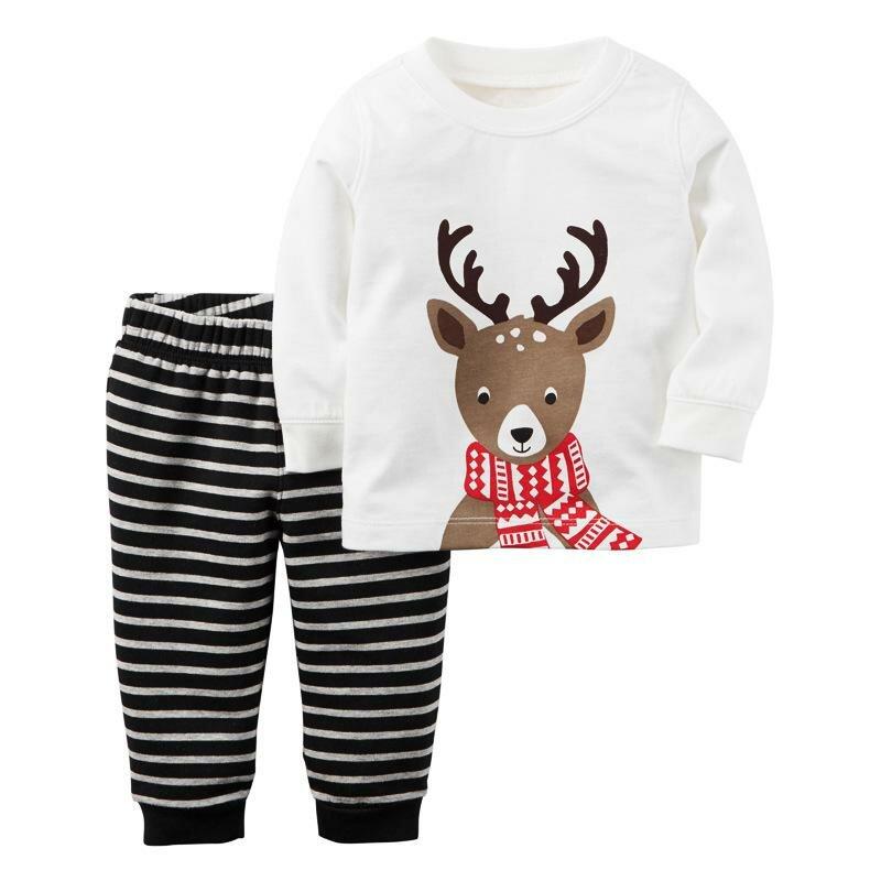 2017 дети Рождественские пижамы для маленьких мальчиков полосатый оленей  набор Новый год Хлопок Рождество дерево одежда 3ff563230eb09