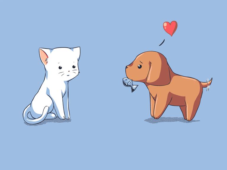 Картинки для срисовки котенок и щенок