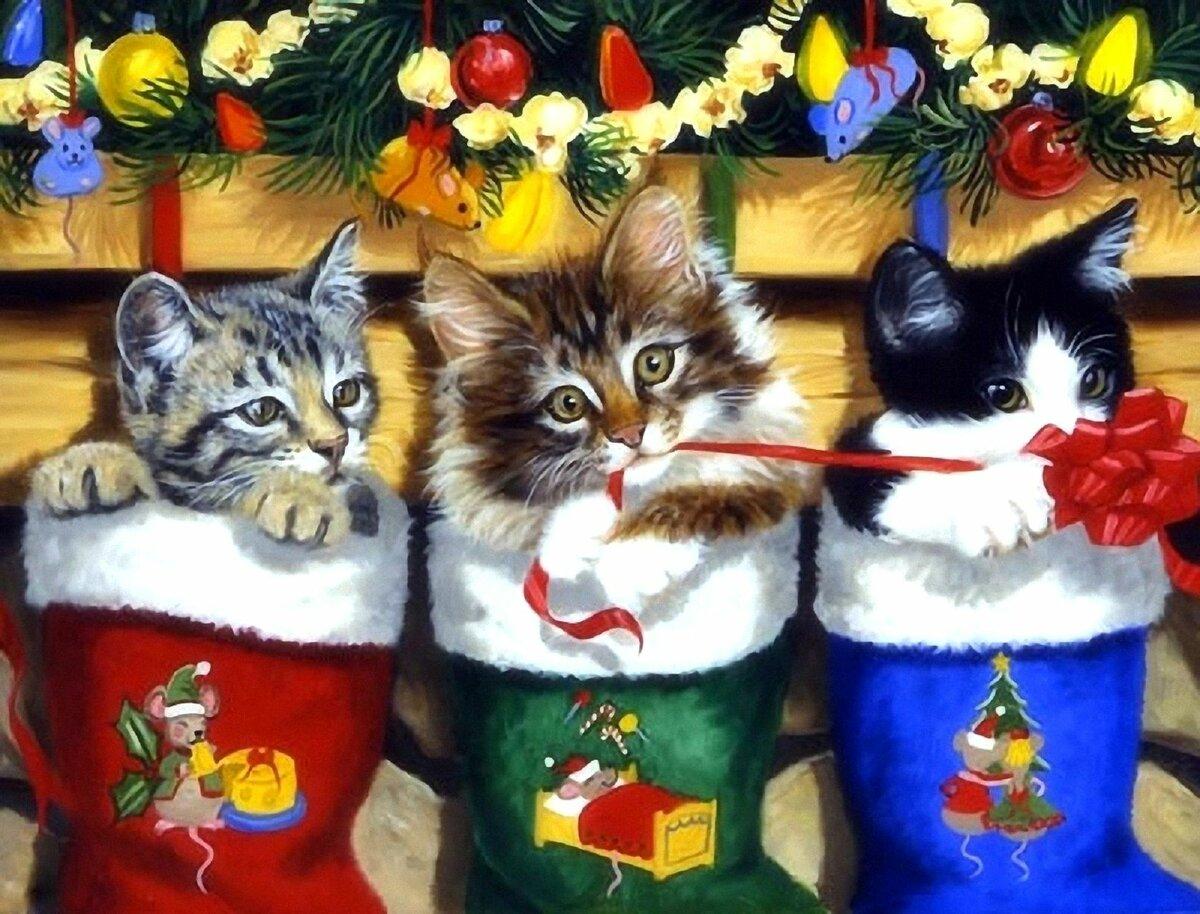 Хорошего отдыха, с рождеством открытки котики