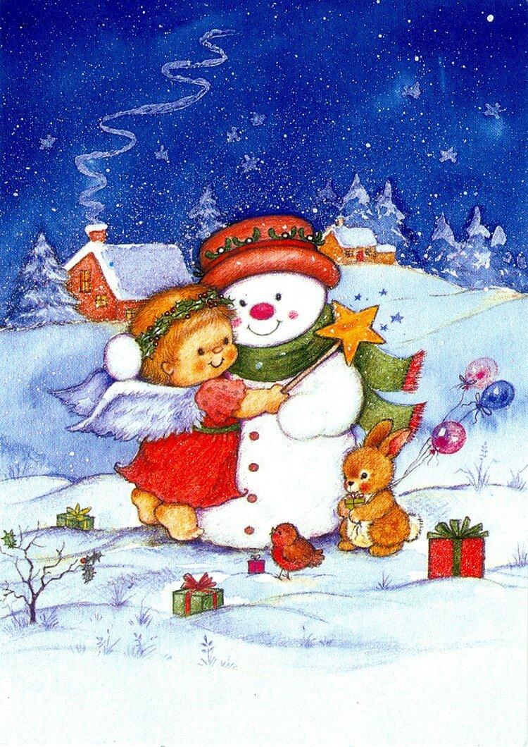 Красотули, рисованные открытки с рождеством