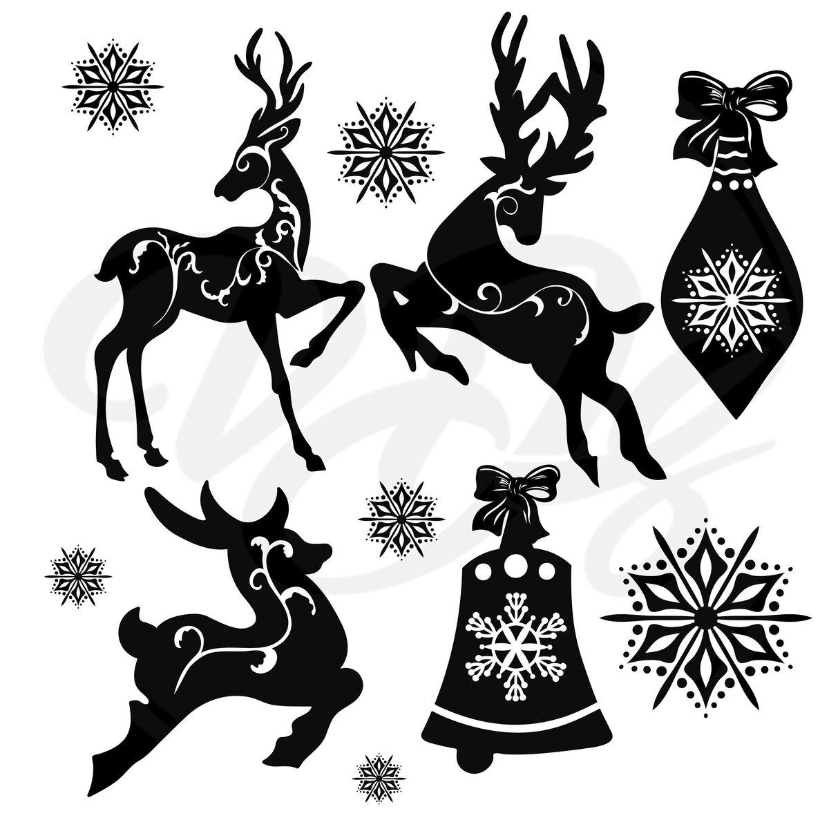 Картинки оленей черно белые для окон