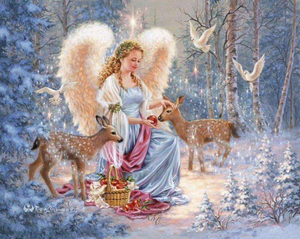 Красивые открытки с зимним пейзажем и ангелом хранителем, открытка своими