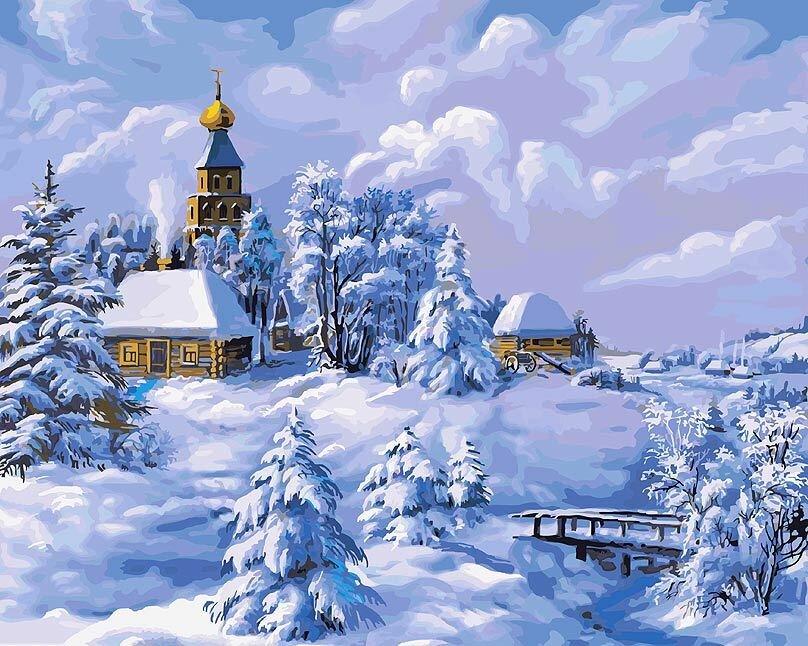 Зимняя деревня открытка, наступающим летом