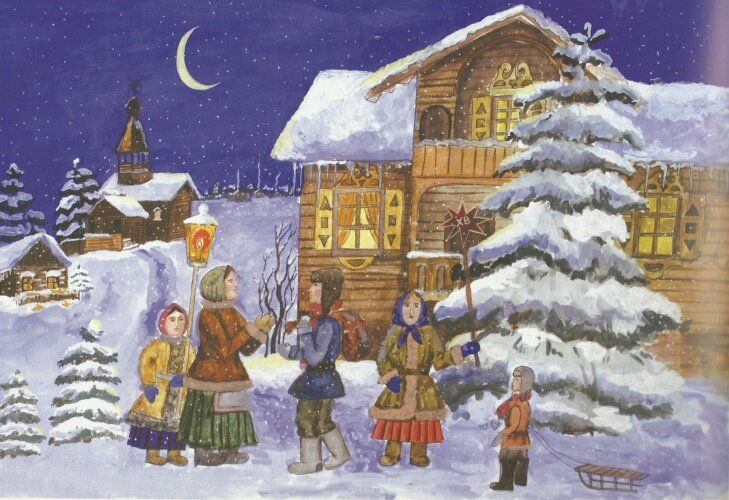 Рождественские открытки с колядующими, красивые