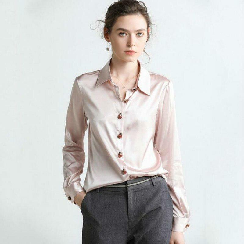 e652a3f481c ... 16 Mmi стрейч тяжелый шелк атласная рубашка Женская 2019 Весна Новый  шелк сплошной цвет рубашка с