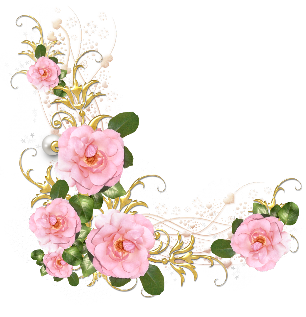 Вышивка, уголок открытки с цветами