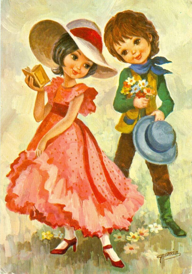 Новому, открытки с нарисованными детьми