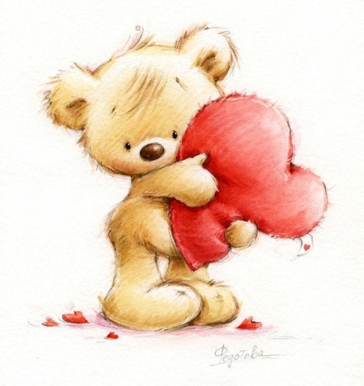 Злись, рисунки для открыток с медвежатами