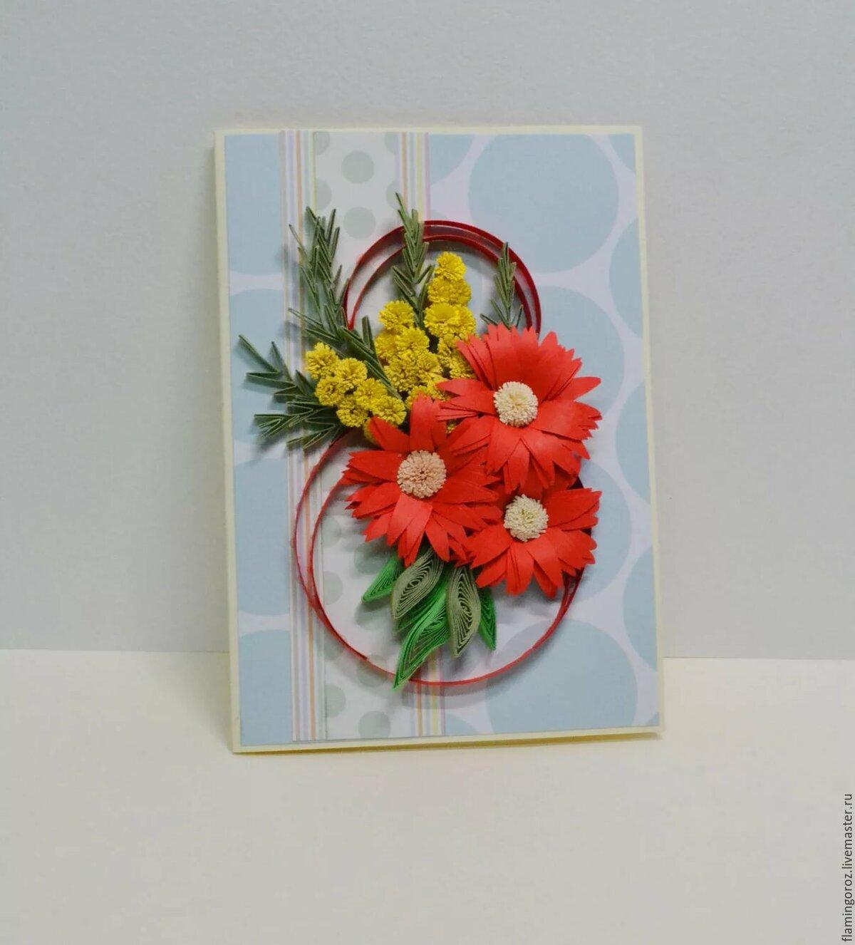 Весне прикольные, открытки в технике квиллинг с 8 марта