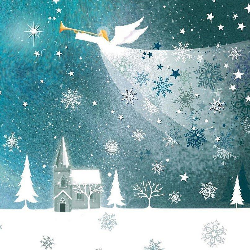 Новогодняя открытка ангелы