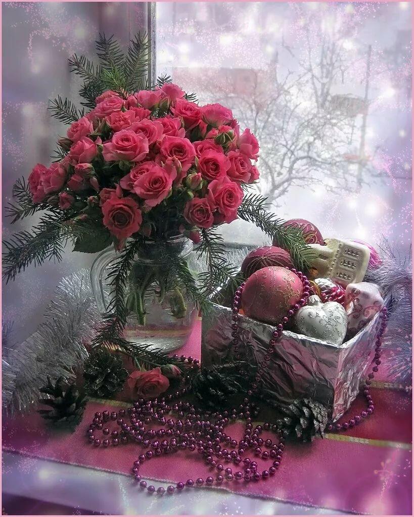 Новый, зимняя открытка с цветами