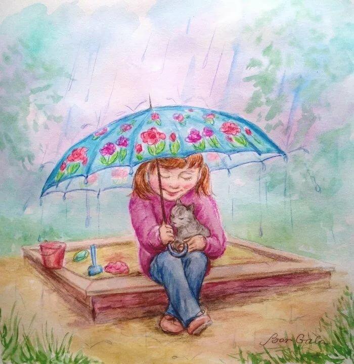 бурными рисунок зонтики под дождем секрет состоит