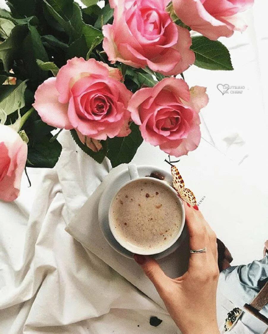 или ступенчатой доброе утро кофе и розы фото про