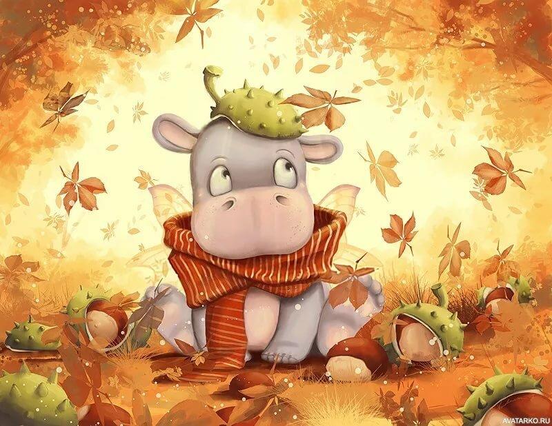 Осень рисунки прикольные, открытки