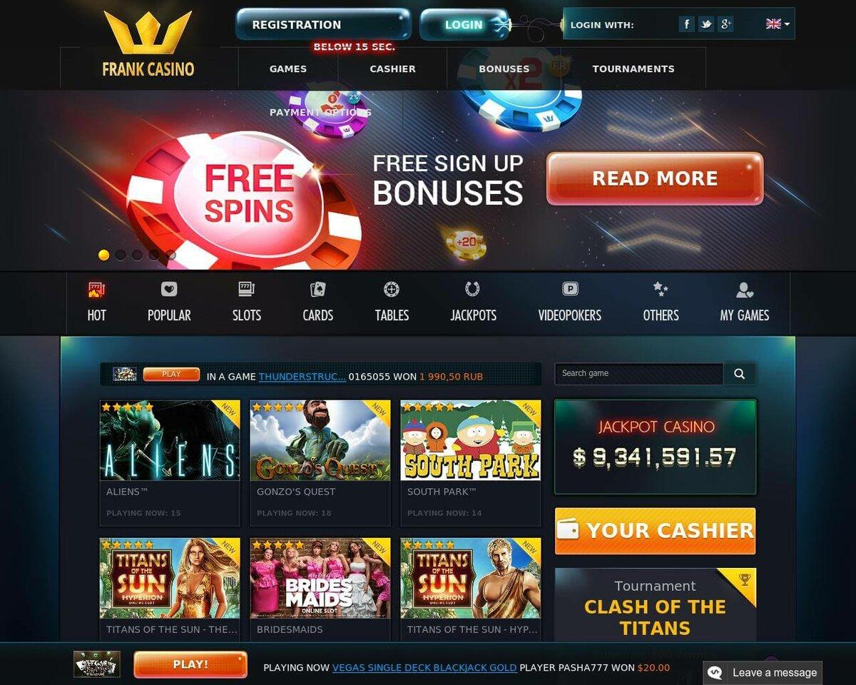 официальный сайт обзор онлайн казино frank