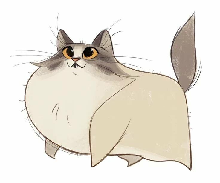 Толстые коты картинки нарисованные