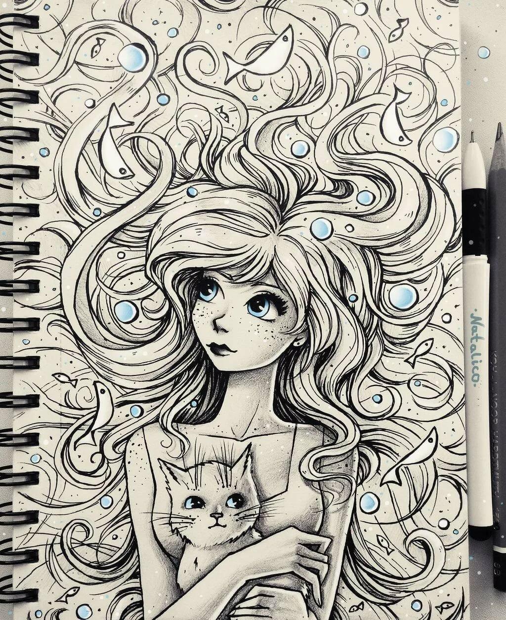Фото прикольных рисунков для срисовки в скетчбук девушки, днем рождения любимая