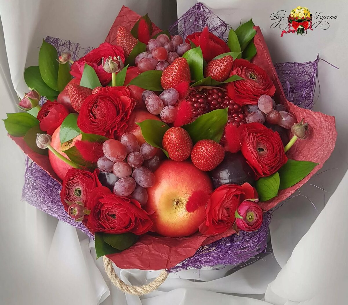 С днем рождения открытки с цветами и фруктами
