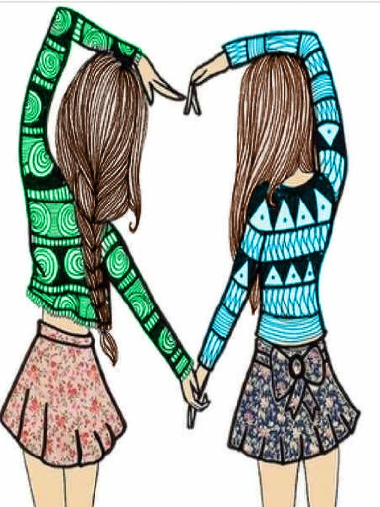 Картинки нарисованные карандашом лучшие подруги