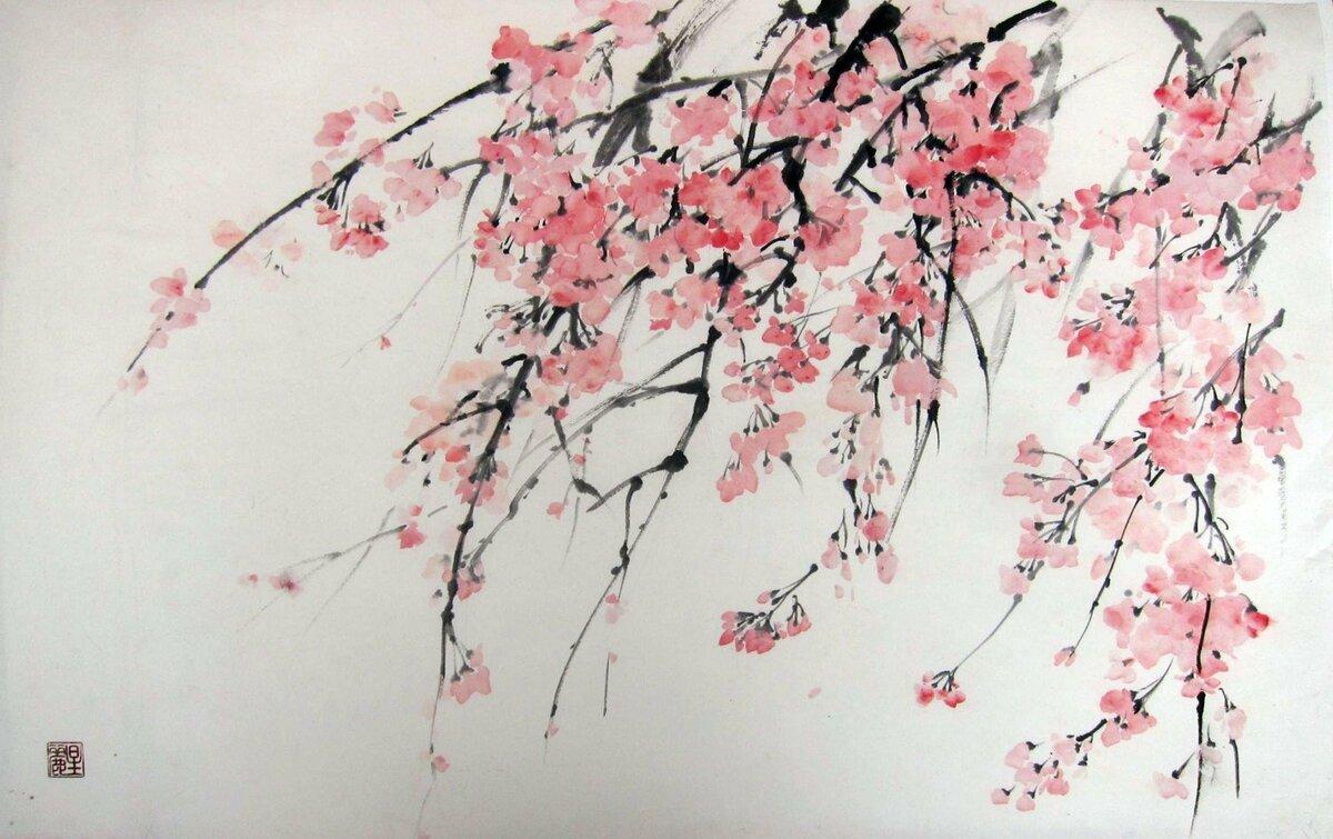 рисунок в японском стиле сакура постоянно улыбается дарит