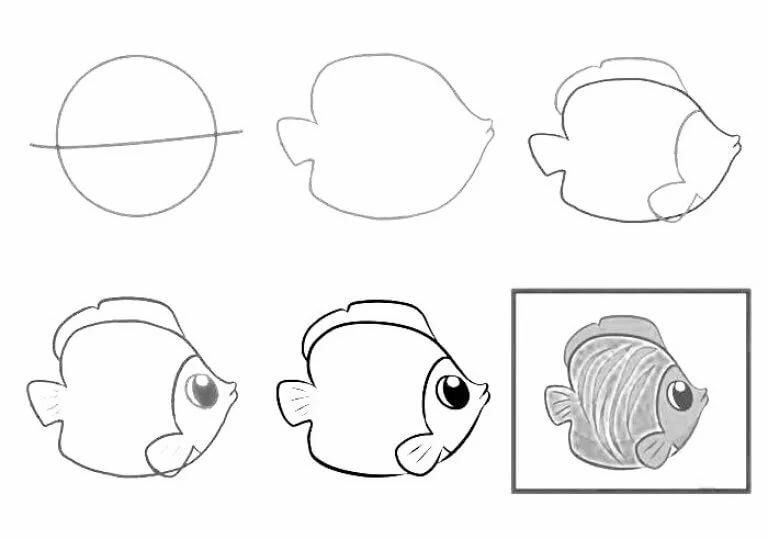 рисуем карандашом поэтапно рыбку картинки кусочки темпуры