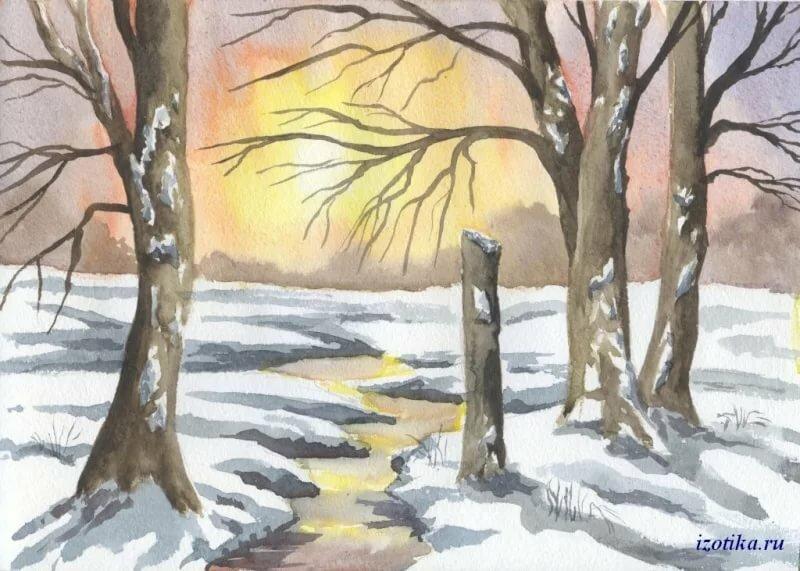 Весенний пейзаж картинки срисовать