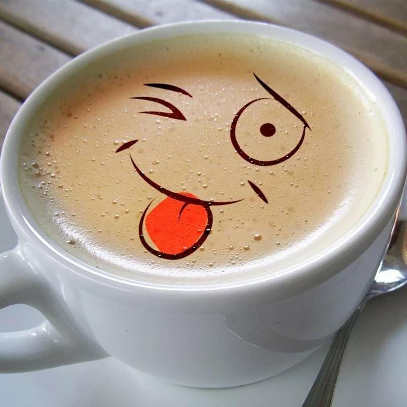 Позитивные надписями, открытка с чашкой кофе доброе утро