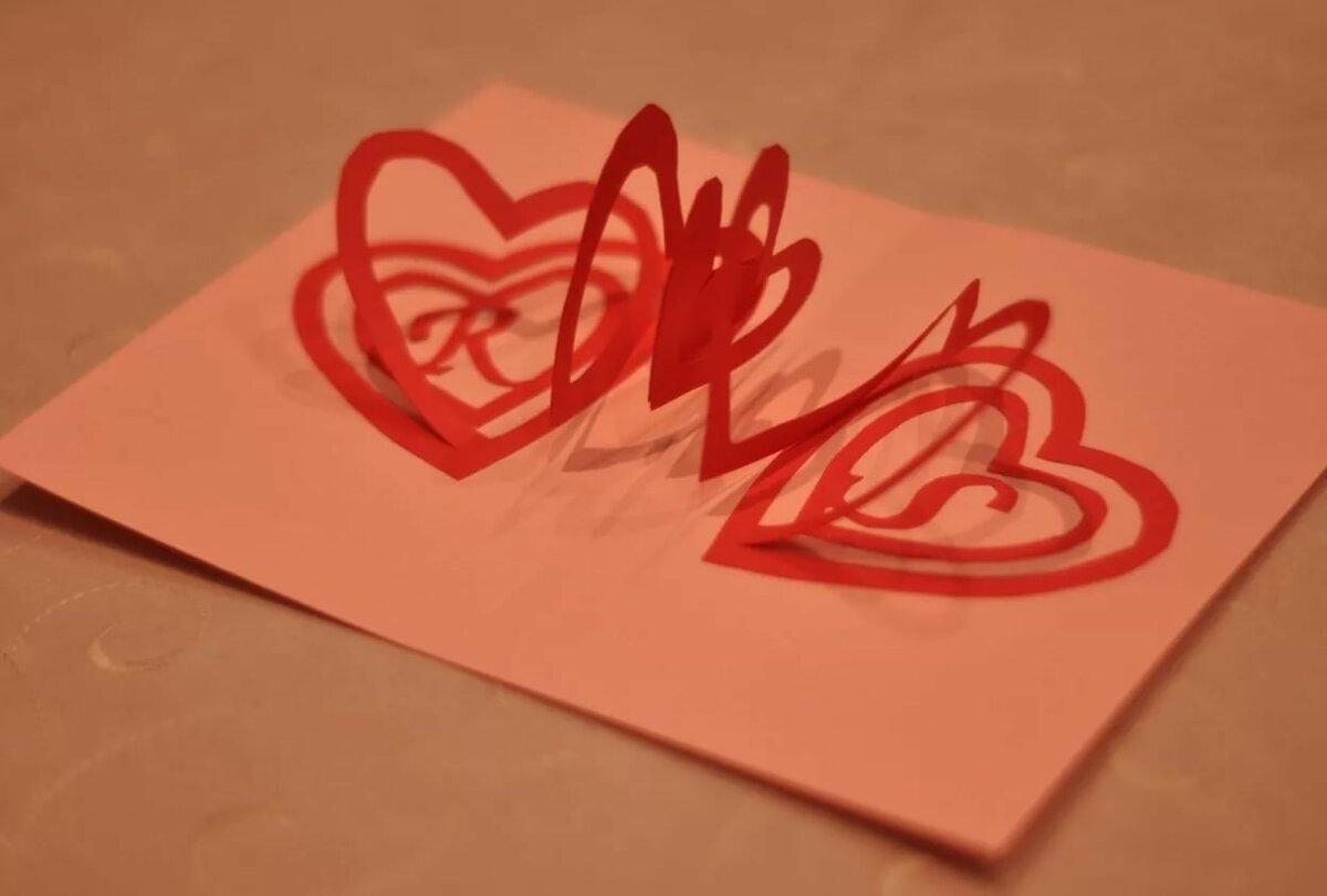 Как сделать объемное сердце из бумаги на открытку, открытки днем