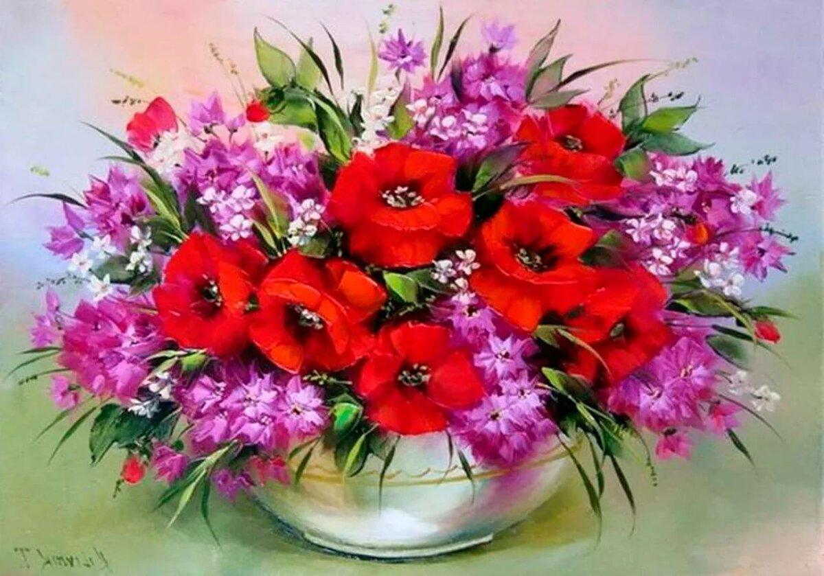 Открытки с цветами женщине