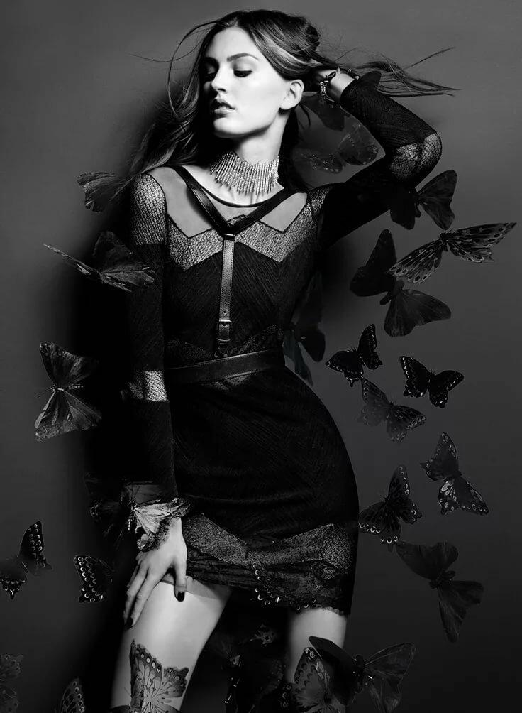 две фотосессия в черном платье креативные черно белые какой-то момент это