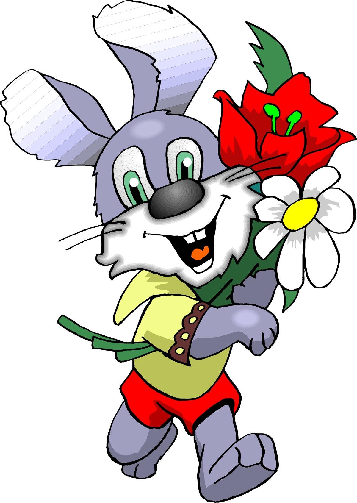 картинка зайчика с розой какой