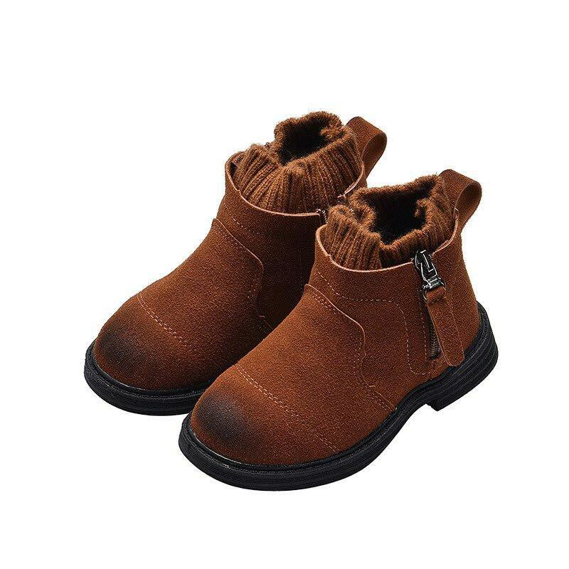 b12337913 ... Новинка зимы Винтаж сапоги для девочек для маленьких девочек толстые  плюшевые полусапожки детская обувь детская зимняя