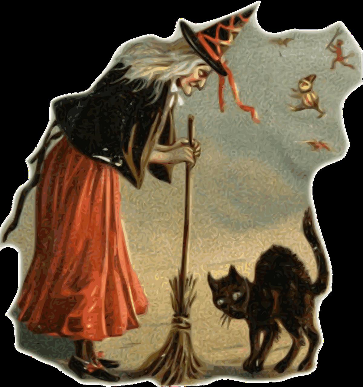 Прикольные картинки изображением ведьмочки рыжей с двумя котами, лет картинки
