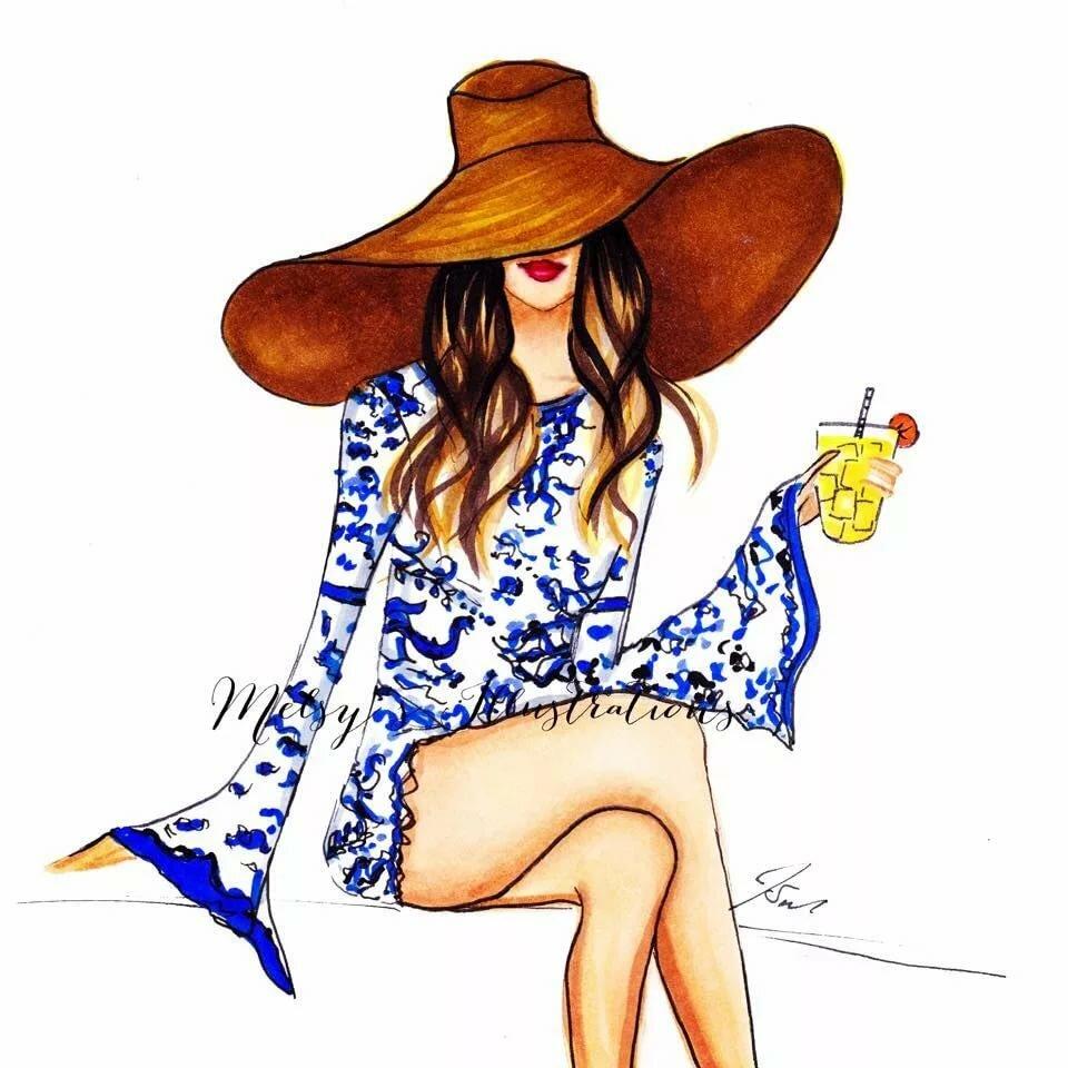 Девочка с коктейлем картинки нарисованные